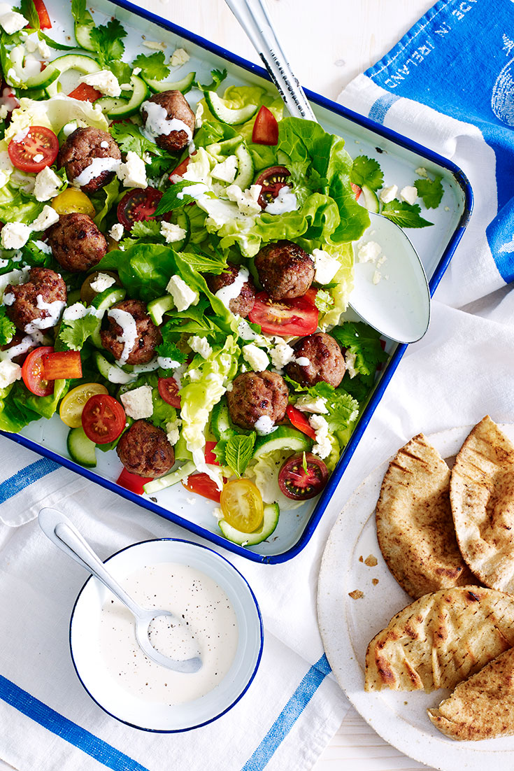 Make a turkey meatball salad recipe in under 30 minutes for dinner tonight