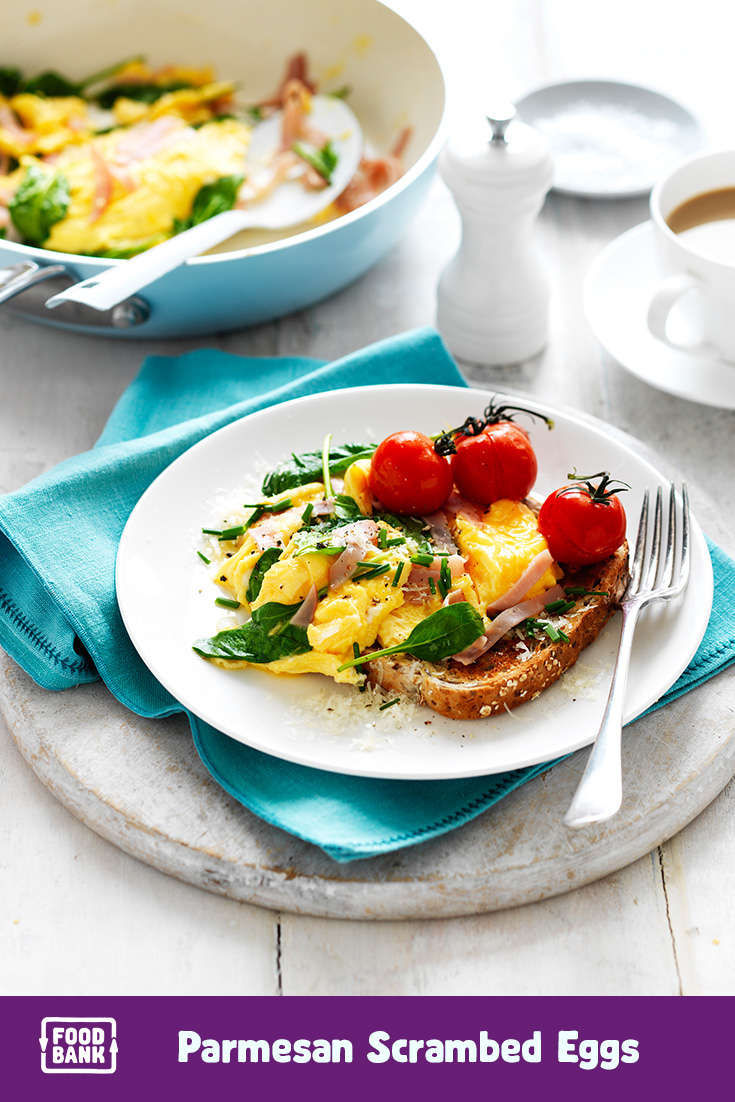 Parmesan, Ham and Spinach Scrambled eggs are an easy idea that you can add to your weekly meal planner