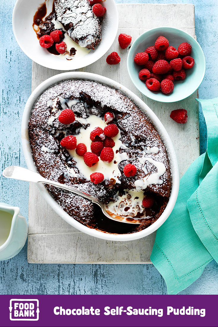 Make this delicious chocolate pudding dessert recipe with Foodbank productsin August to support the Food Fight.