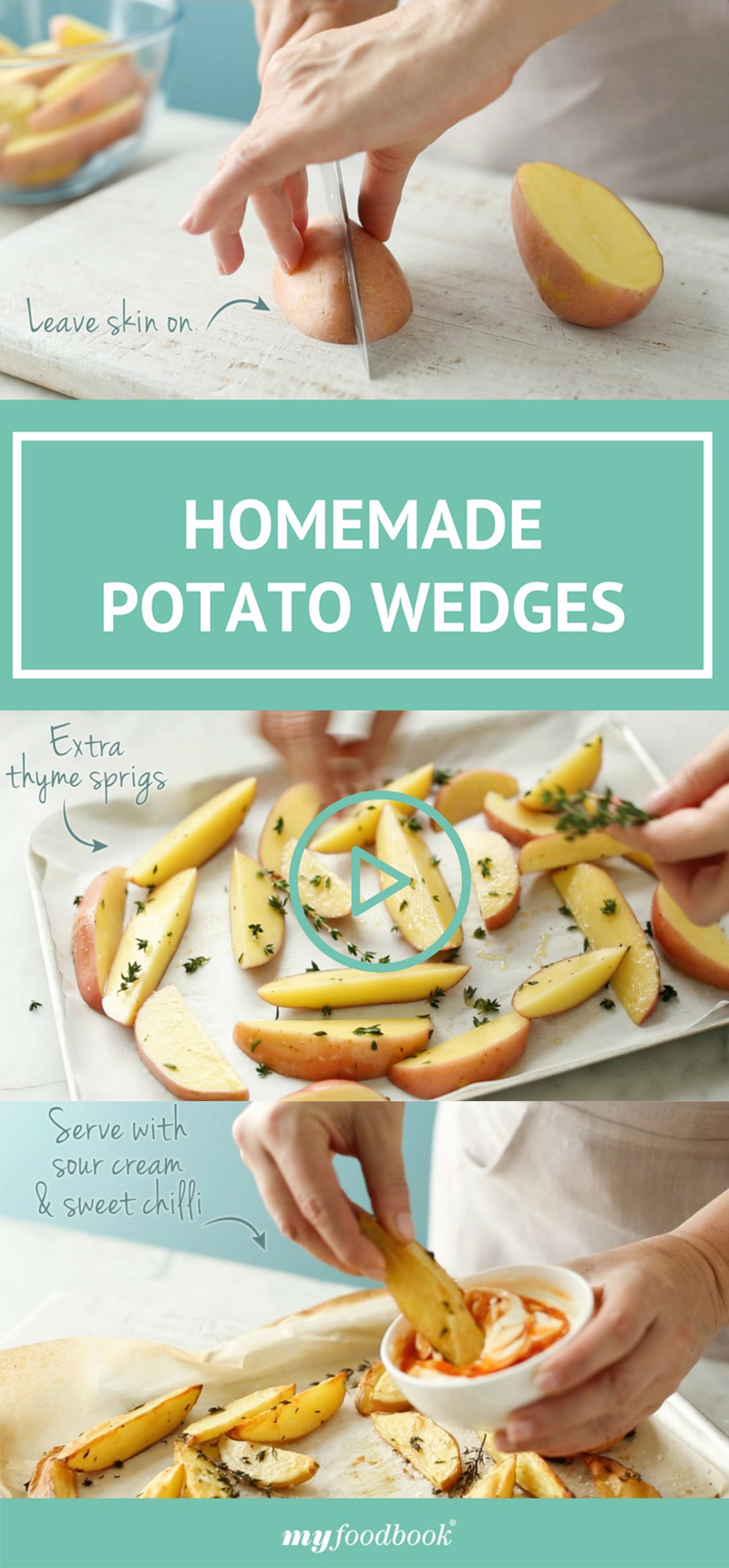 Make easy oven-baked potato wedges with this cooking school video by myfoodbook