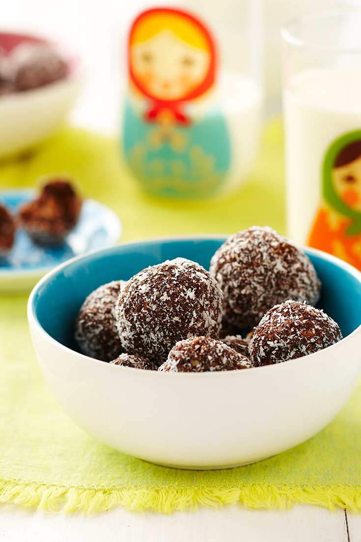 Try making one of the snack recipes from the myfoodbook collection like these Chocolate Apricot Balls by the Dairy Kitchen