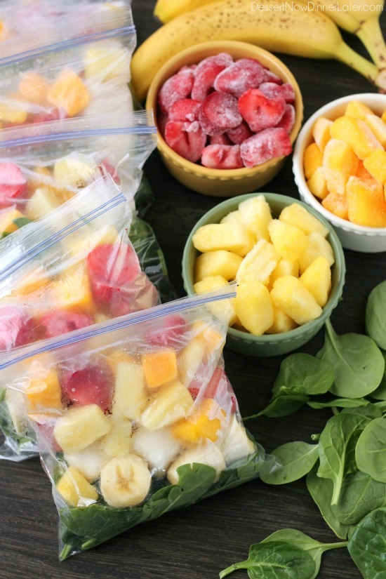 Make smoothies packs and freeze for a quick breakfast idea. Image via Dessert Now Dinner Later