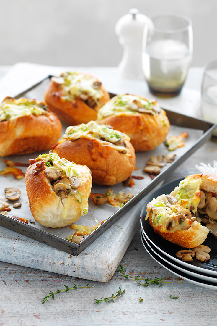 Serve these Mushrooms & Cheese Melt Rolls as a party snack idea for entertaining.