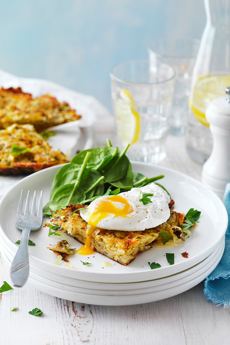 Make Perfectly Poached Eggs and serve on a potato rosti for the ultimate breakfast recipe idea