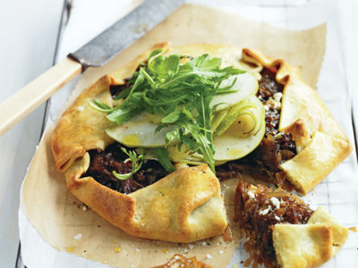 This caramelised onion and pear tart is the perfect spring entertaining idea