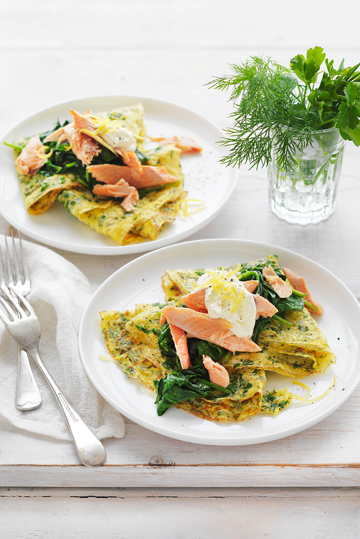 Make a delicious omelette recipe from myfoodbook like this Herb, Spinach and Smoked Fish version.