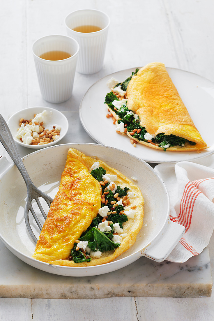 Make this fluffy omelette recipe with wilted kale and goat's cheese