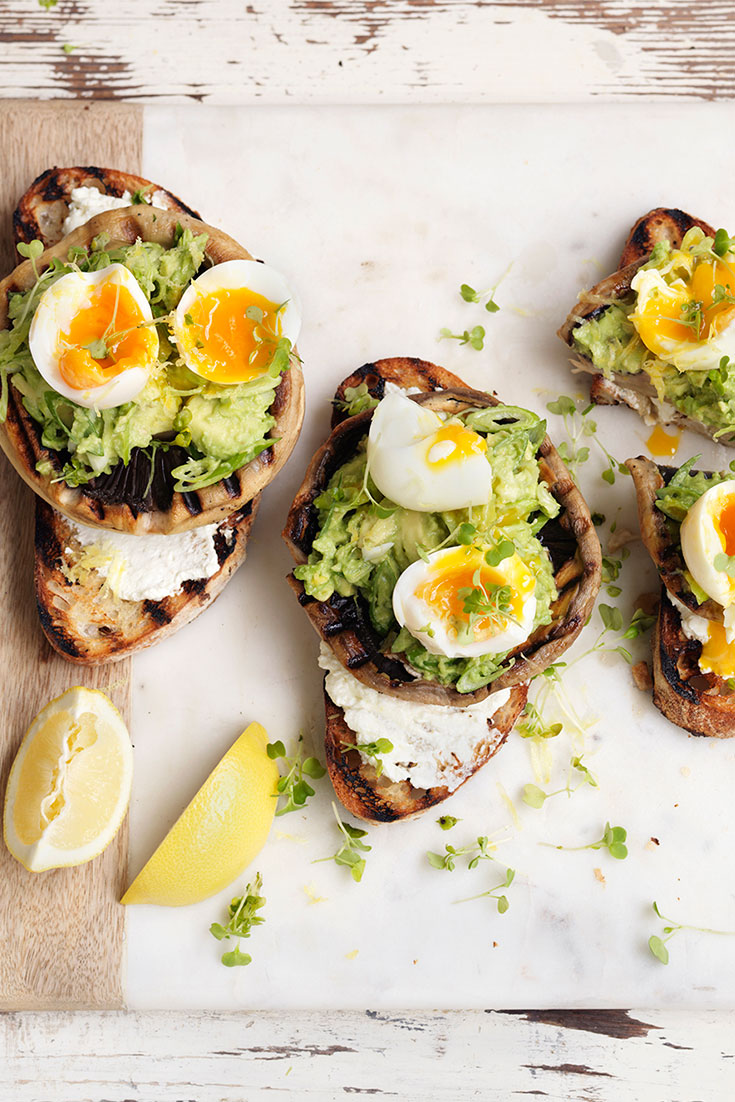 Do bruschetta a little differently with this delicious brunch recipe for Grilled Mushroom Bruschetta with Avocado and Soft-Boiled Egg - Australian Mushrooms