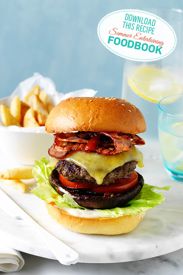 Find this delicious mushroom and beef burger in the 2016 Summer Entertaining Foodbook