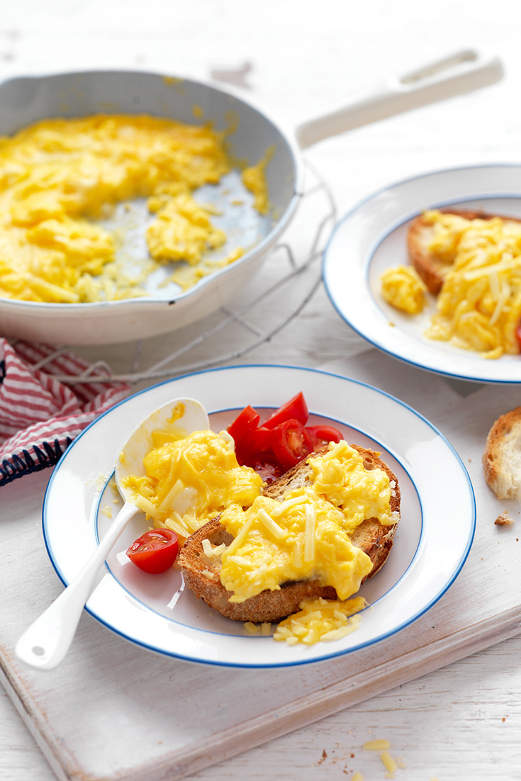 Make a delicious breakfast idea for Brain-food Cheesy Scrambled Eggs to get you ready for a big day