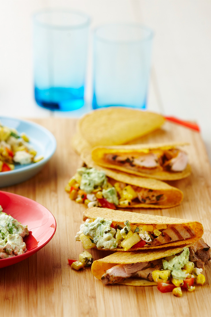 Make this Chicken Tacos with Feta Salad and Avocado Smash recipe for delicious family dinner idea