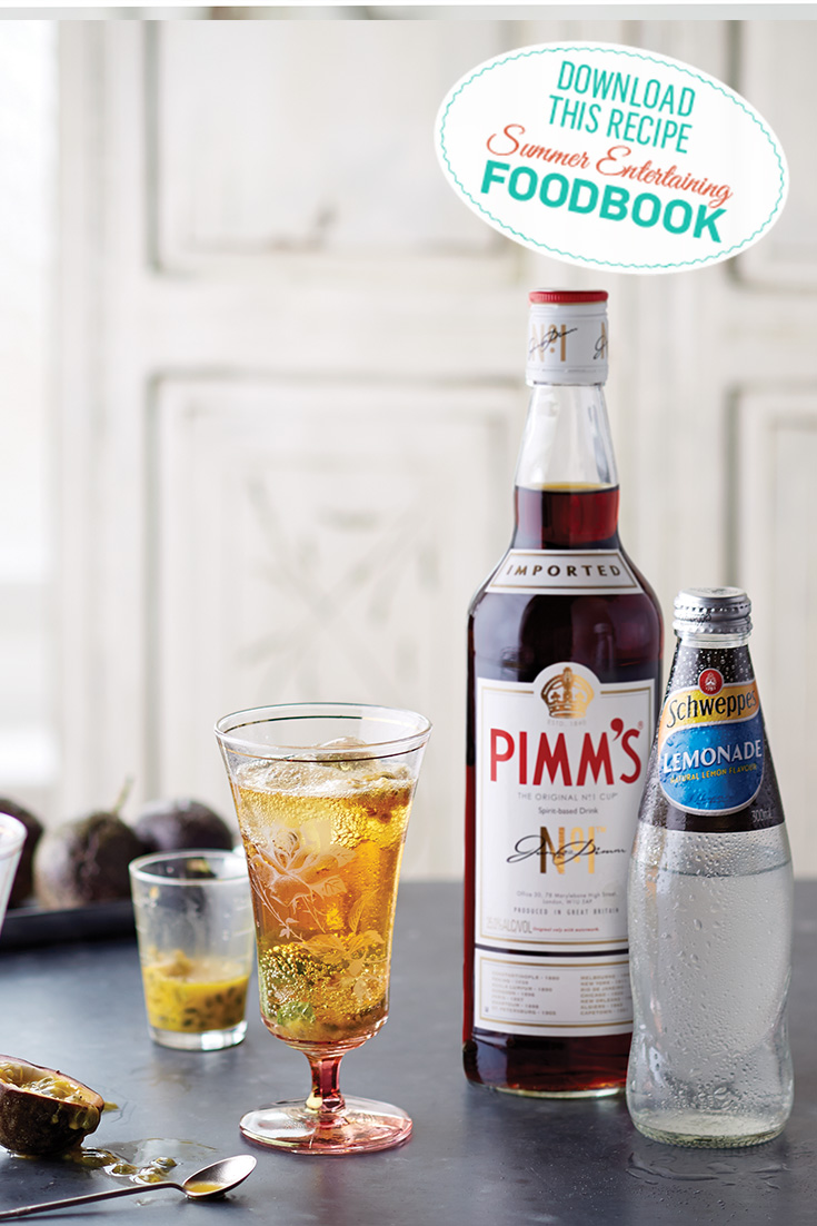 Find this Pimms and Lemonade Cocktail Recipe in the 2016 Summer Entertaining Foodbook