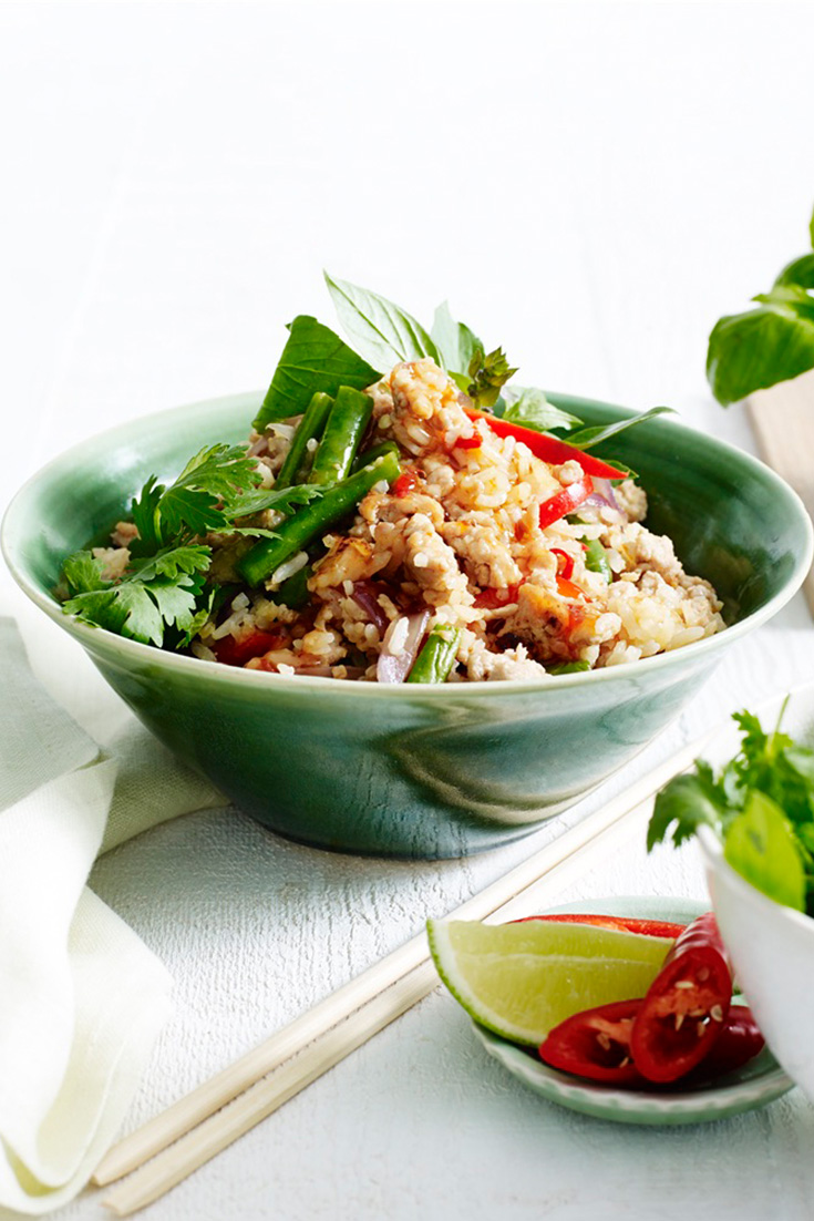 Thai Basil and Chicken Fried Rice is a great recipe to add to your weekly meal plan