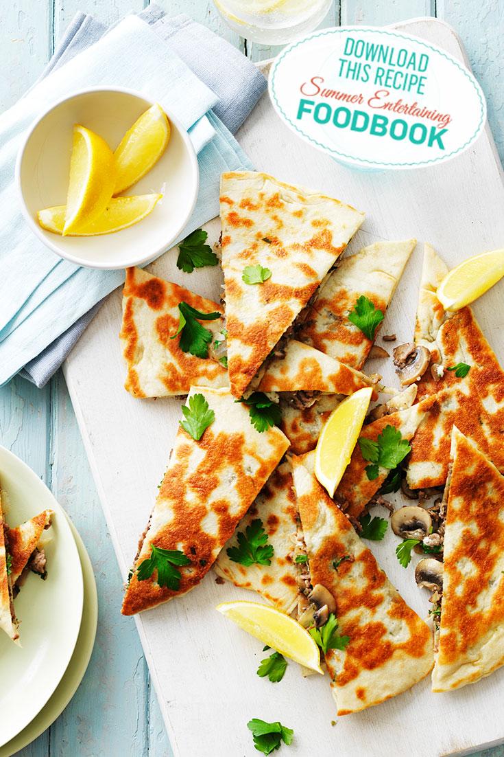 Find this Mushroom Gozleme recipe in the 2016 Summer Entertaining Foodbook