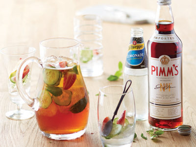 Pimms Cocktail recipe with fresh fruit and Schweppes Lemonade