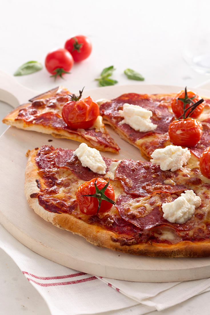 Make a delicious homemade pizza recipe topped with Spicy Salami and Ricotta