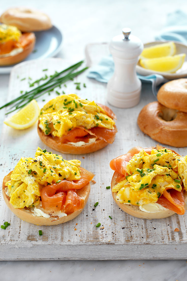 Dress up a scrambled eggs recipe with this idea for egg and salmon bagels