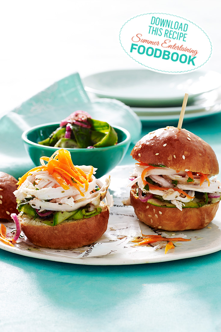 These delicious Herbed Chicken Sliders can be found in the 2016 Summer Entertaining Foodbook
