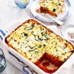 Make your lasagne much tastier by adding mushrooms and a delicious spinach and ricotta topping