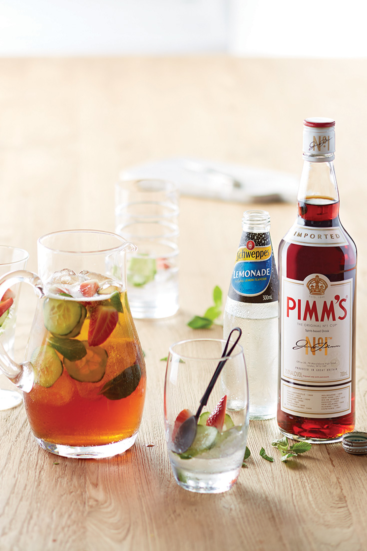 Make a pimms cocktail recipe with schweppes lemonade as a great drink idea for entertaining