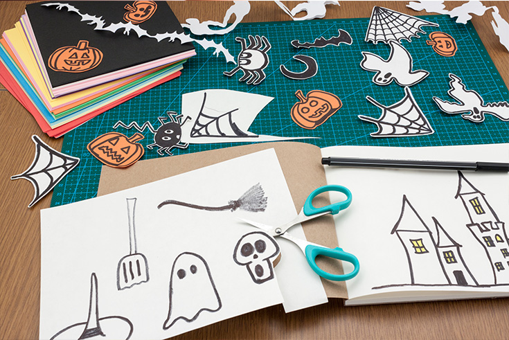 If you are looking for halloween craft ideas that don't involve carving, this stencil drawing activity is a great one for kids