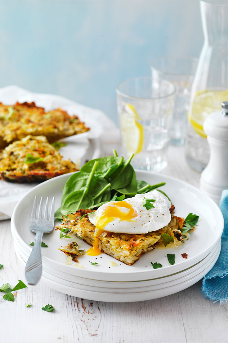 This easy poached eggs with potato rosti recipe is quick lunch idea packed full of egg protein.