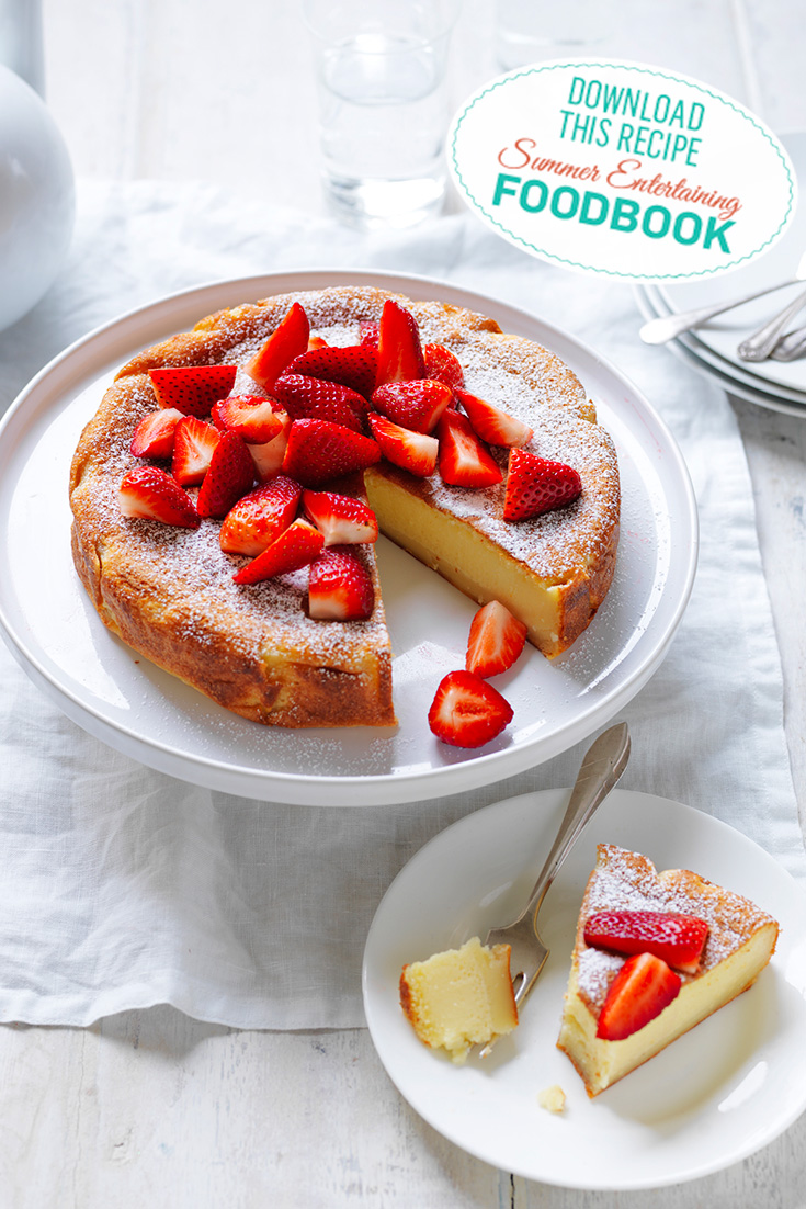 This stunning magic custard cake recipe is one of best summer dessert recipes for parties
