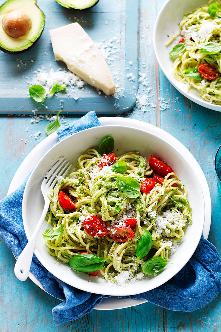 This light and gorgeous pesto made with avocado is ideal for weeknight dinners