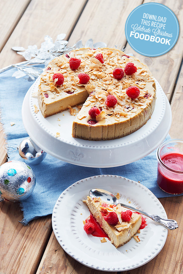 This show-stopping Baked Coconut & Raspberry Cheesecake is perfect for Christmas