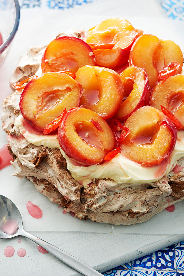 This show-stopping pavlova recipe with plums is perfect for entertaining