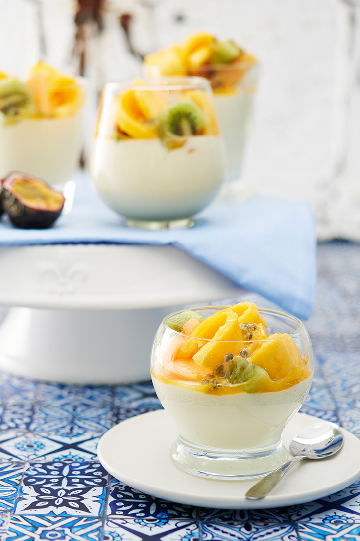 This glorious White Chocolate Mousse recipe features summer fruits like Passionfruit and Mango