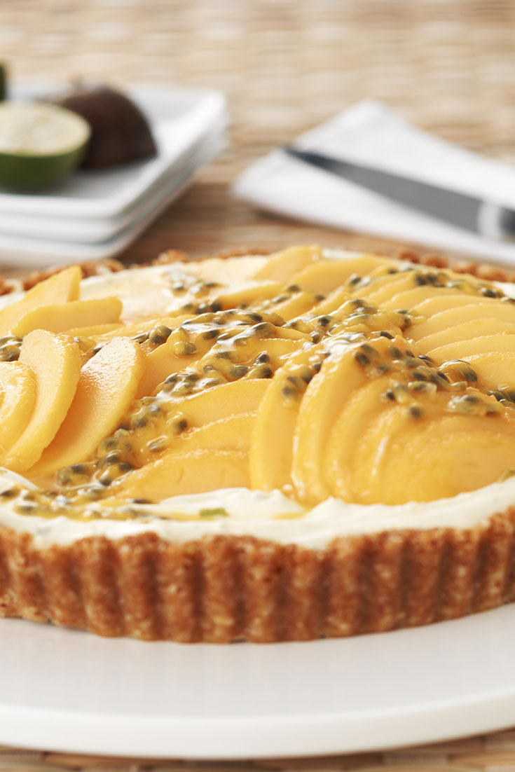 This easy and delicious lime mascarpone and mango tart recipe is a delicious dessert idea using mango.