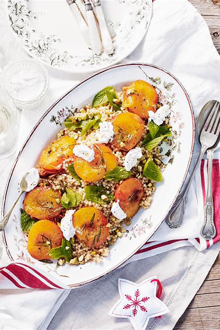 Make this gorgeous peach salad as a festive season side dish idea