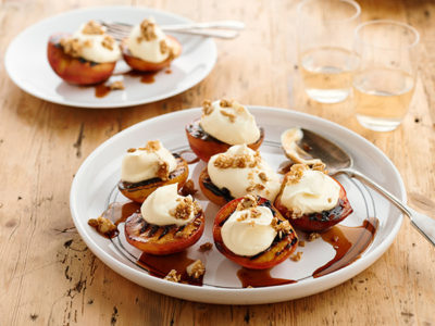 Grilled Peaches filled with Philly make a great summer dessert idea