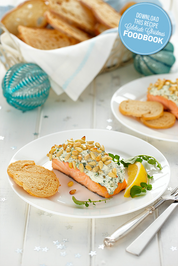 Try this Hot Smoked Salmon with Herb and Pine Nut Crust recipe for Christmas