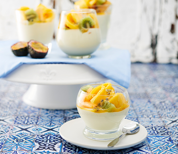 Decorate this simple White Chocolate Coconut Mousse recipe with summer fruits like mango and passionfruit