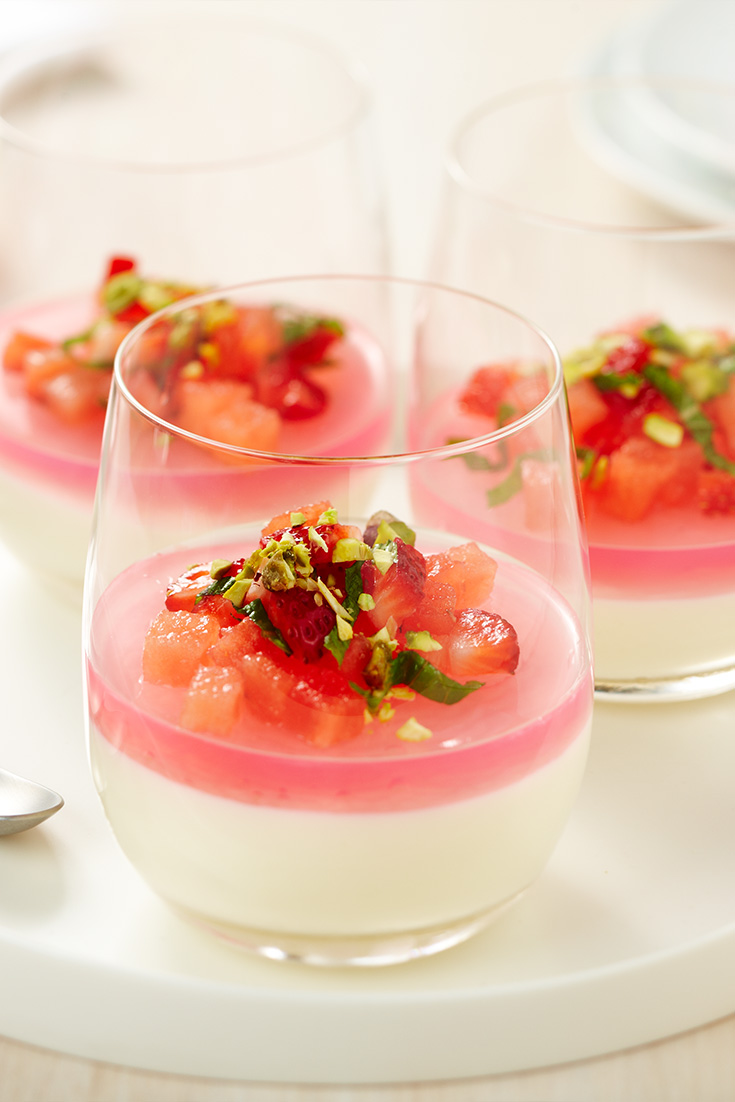 This Milk Pudding with a layer of rose jelly is a great Christmas dessert idea