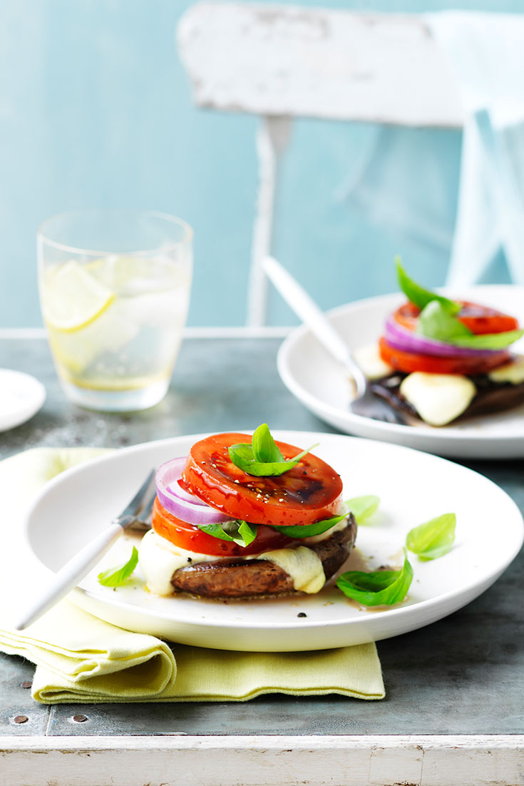 This Barbecue Mushroom Caprese Salad is the perfect summer dish