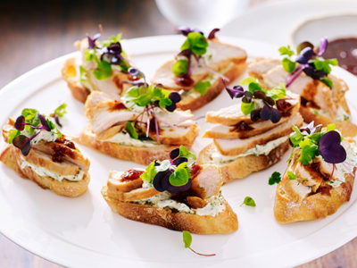 Chicken and Coriander Cream Crostini