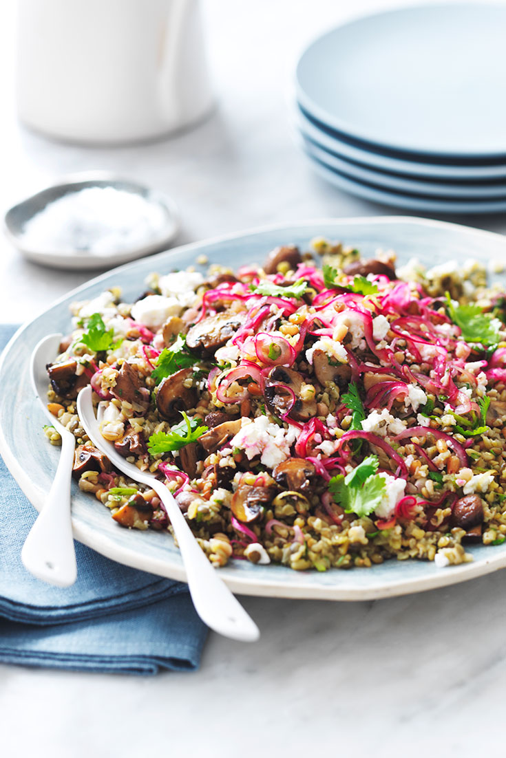 This stunning mushroom and ancient grain salad recipe is a great to dish for entertaining.