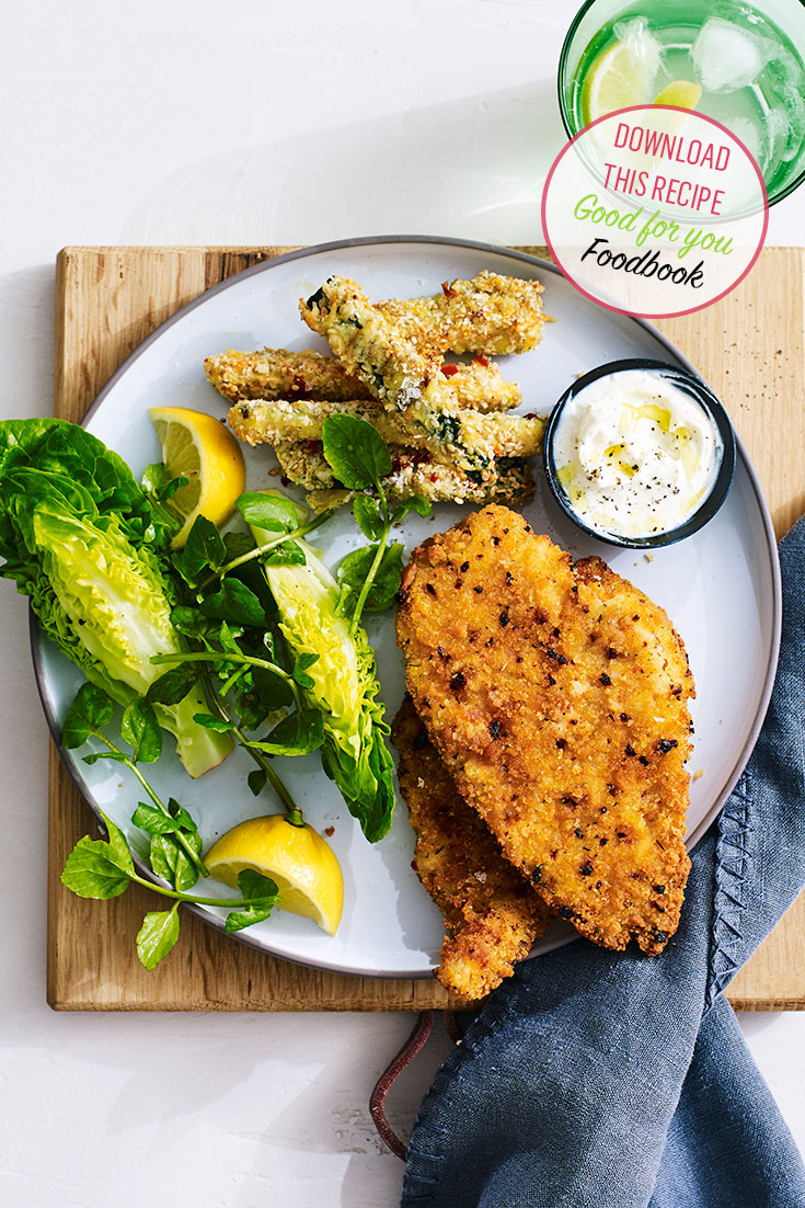 Next time Schnitzel is on the dinner menu, try this Lilydale Schnitzel idea with Zucchini chips.