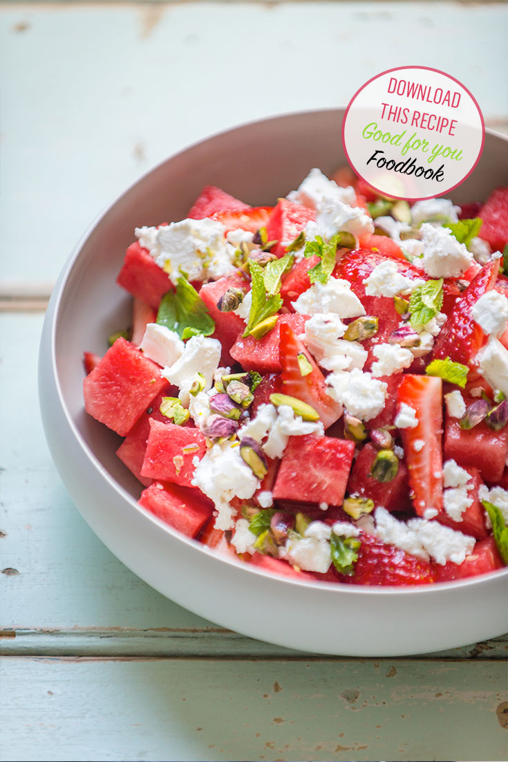 This fresh watermelon and strawberry salad is the perfect summer dish dish. See this recipe in the 2017 Good for you Foodbook.