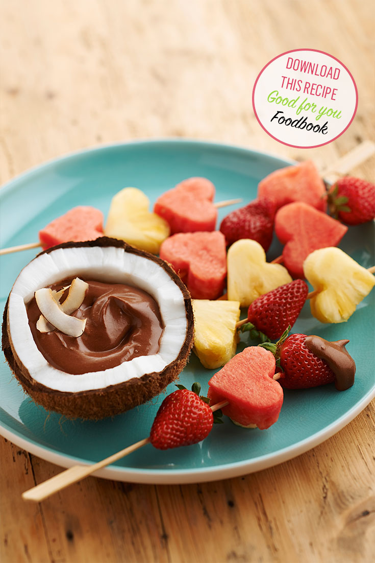 Enjoy these fruit skewers with chocolate and yoghurt dip as a light dessert idea.