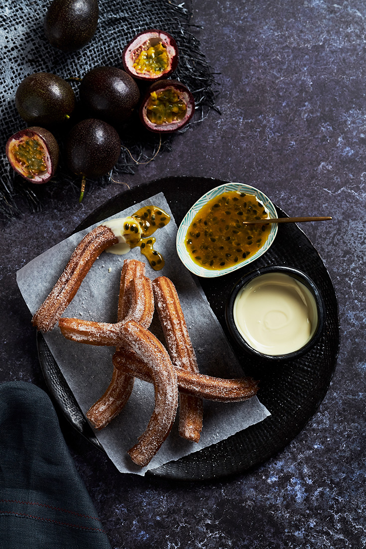 Make Churros with a twist when you serve them with this simple yet delicious white chocolate and passionfruit sauce.