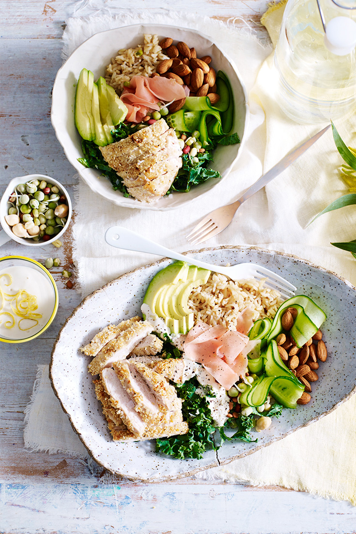 Serve your chicken with a sesame crumb, alongside fresh veggies in a salad bowl