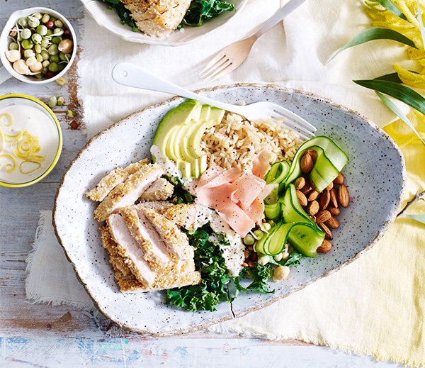 Make this delicious chicken brown rice bowl for lunch or dinner
