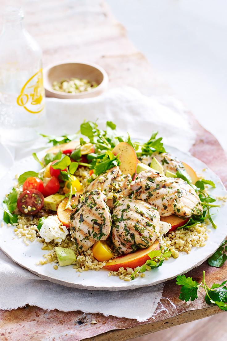 Enjoy fresh summer flavours in this peach chicken salad