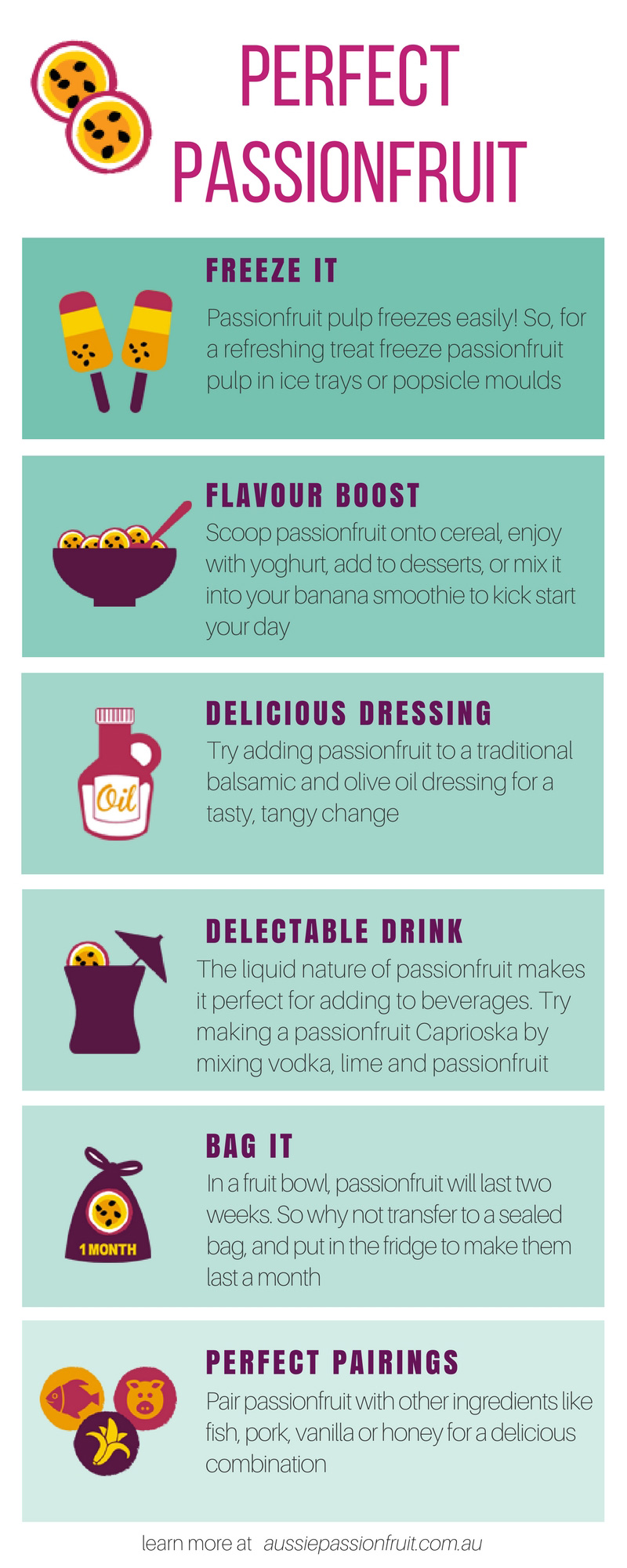 tips and tricks for preparing, freezing and storing passionfruit infographic