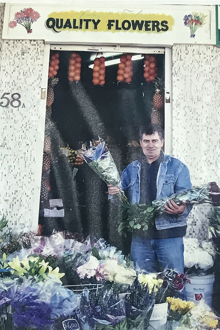 Jimmy outside Jimmy and Toula's Fruit and Veg Shop in Mosman when it opened in 1985