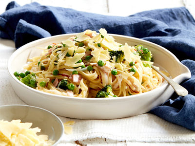 One pot bacon, broccoli linguine